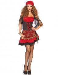Costume da gitana rossa e nera per donna