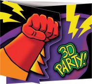 8 Cartoncini d'invito Compleanno Supereroe