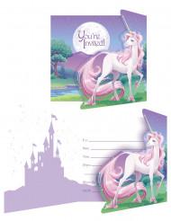 8 Cartoncini d'invito Magico Unicorno