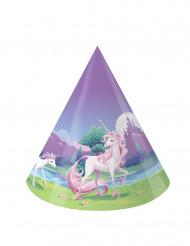 8 Cappellini di carta per la festa Magico Unicorno