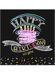 16 Tovagliolini di carta Happy Birthday coriandoli