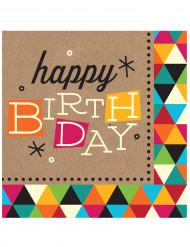 16 Tovagliolini di carta Happy Birthday Kraft