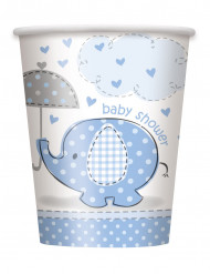 8 Bicchieri in cartone Elefante azzurro 25 cl