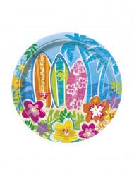 Confezione di 8 piatti di carta hawaiani