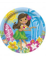Confezione di 8 piatti di carta per festa hawaiana