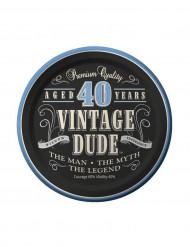 8 Piattini di carta Compleanno Vintage 40 Anni