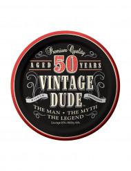 8 Piattini di carta Compleanno Vintage 50 Anni