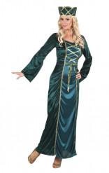 Costume regina medievale verde adulto