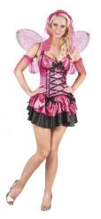 Costume da fatina rosa e nera con paillettes per donna