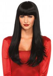 Parrucca lunga nera frangia