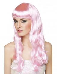 Parrucca lunga rosa donna