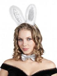 Cerchietto e papillon da coniglietto argentato