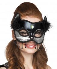 Maschera Gatto nero e argento sexy per donna