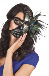 Mezza maschera nera con piume di pavone