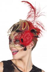 Maschera Veneziana trasparente e rossa per adulto