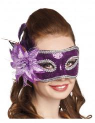 Maschera Veneziana con fiori viola per adulto