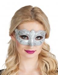 Maschera Veneziana argentata con brillantini per donna