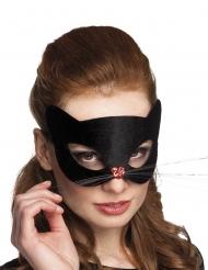 Maschera gatto nero con naso a forma di cuore per adulto