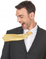 Cravatta dorata con paillettes adulto