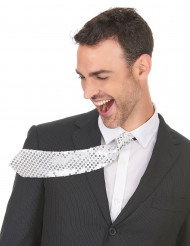 Cravatta argentata con paillettes uomo
