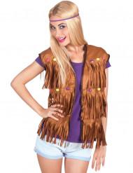 Gilet da hippie con finte gemme per donna