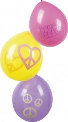Confezione di 6 palloncini hippy Flower Power