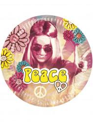 Confezione di 6 piatti di carta hippy flower power