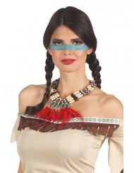 Collana da indiana con piume rosse da donna