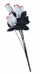 Accessorio di Halloween: bouquet da 6 rose bianche insanguinate
