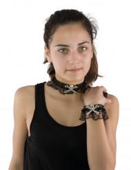 Collana e bracciale in pizzo teschio e ossa per Halloween