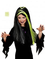 Parrucca da strega nera e bianca fosforescente da bambina per Halloween