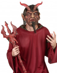 Maschera Halloween da diavolo per adulto in lattice con capelli e pizzetto