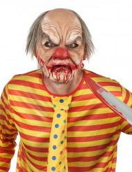 Maschera Halloween lattice adulto deluxe clown sanguinante con capelli