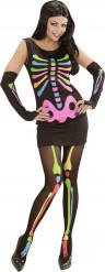 Costume scheletro fluorescente donna Halloween