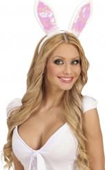 Image of Orecchie da coniglietta con pelliccia bianca e interno rosa
