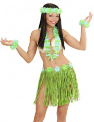 Kit Hawaiana celeste e verde donna