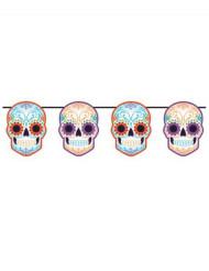 Decorazione di Halloween: ghirlanda di teschi colorati Dia de los Muertos