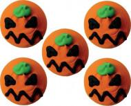 Decorazioni per dolci di Halloween: 5 mini dischi di zucchero zucca