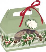 Scatola verde per dolcetti agrifoglio Natale
