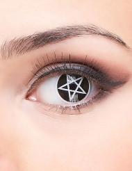 Trucco Halloween: lenti a contatto croce satanica adulto
