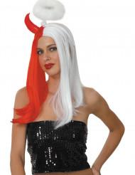 Parrucca donna metà angelo metà diavolo Halloween
