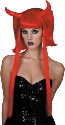 Parrucca diavolessa rossa con ciocche lunghe donna Halloween