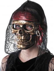 Maschera teschio pirata dorato adulto Halloween