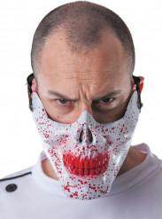 Mezza maschera teschio insanguinato adulto Halloween
