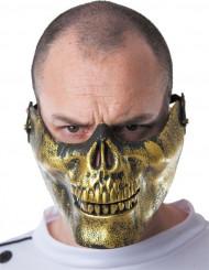 Mezza maschera teschio dorata adulto