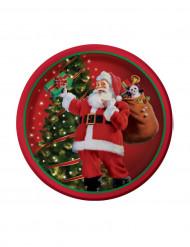 8 piattini decorati Babbo Natale 18 cm