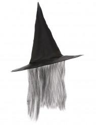 Cappello strega nero con capelli grigi adulto Halloween