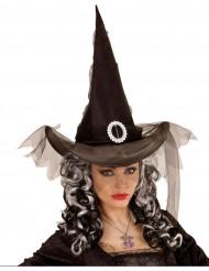 Cappello da strega per donna con fibbia e tulle