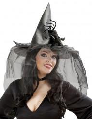 Cappello da strega con tulle e ragno gigante Halloween