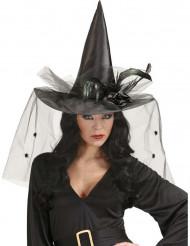 Cappello da strega con tulle e piume donna Halloween
